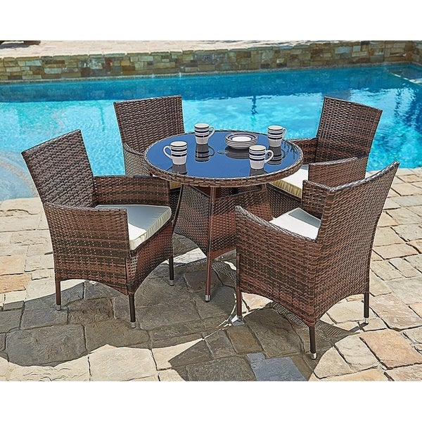 Suncrown Outdoor 5-piece Wicker Round Dinning Table & Chairs. Opens flyout.