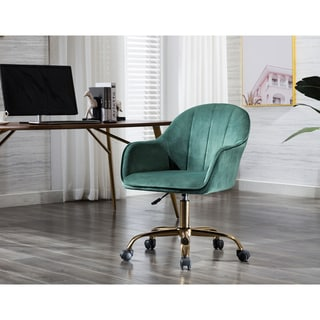 Porthos Home Xenos Swivel Office Chair, Velvet Upholstery, Chrome Legs