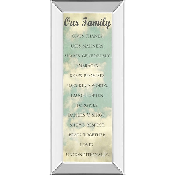 """18 in. x 42 in. """"Our Family"""" By Sarah Gardner Mirror Framed Print Wall Art"""