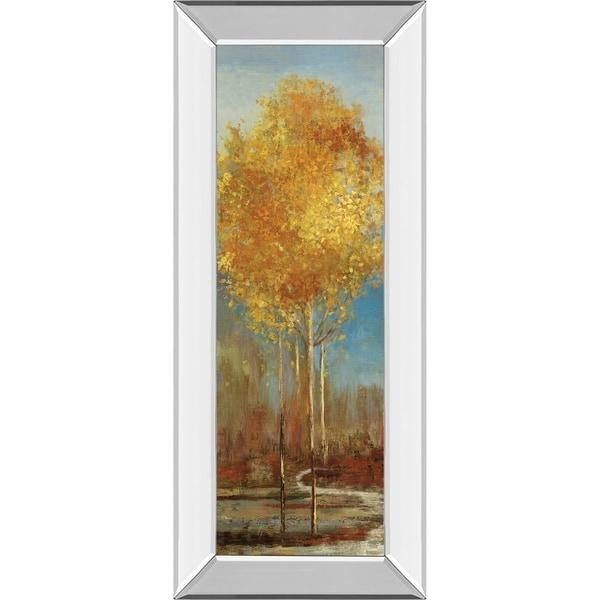 """18 in. x 42 in. """"Ginkgo Tree I"""" By Asia Jensen Mirror Framed Print Wall Art"""