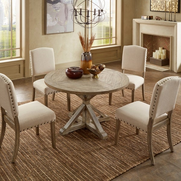 Benchwright Antique Grey Oak Round Dining Set by iNSPIRE Q Artisan. Opens flyout.