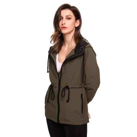 Meaneor Women Casual Hooded Long Sleeve Outdoor Waterproof Raincoat Jacket