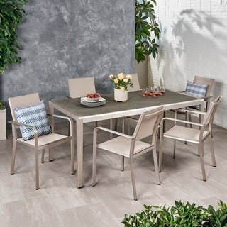 Bexey Outdoor Modern 6 Seater Aluminum Dining Set with Wicker Table Top by Christopher Knight Home