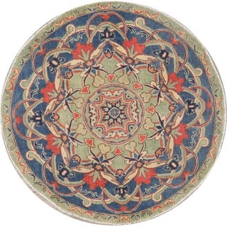 "Kazak Pakistani Oriental Medallion Hand Knotted Wool Traditional Rug - 4'8"" x 4'9"" Round"