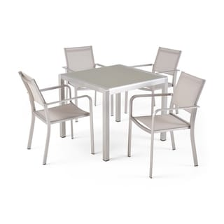 Link to Boris Outdoor Modern 4 Seater Aluminum Dining Set with Tempered Glass Table Top by Christopher Knight Home Similar Items in Outdoor Dining Sets
