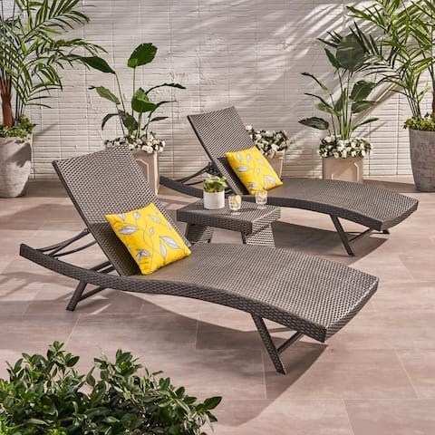 Kauai Outdoor 3 Piece Wicker Chaise Lounge Set by Christopher Knight home