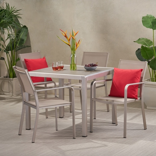 Boris Outdoor Modern 4-seat Aluminum Dining Set with Faux Wood Table Top. Opens flyout.