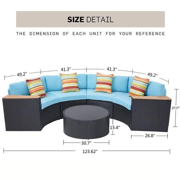 Sensational Shop Solaura Outdoor 5 Piece Half Moon Crescent Sectional Machost Co Dining Chair Design Ideas Machostcouk