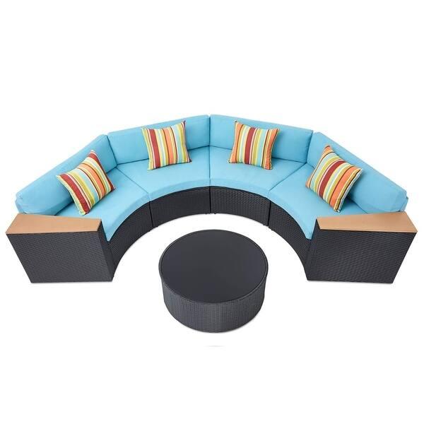 Fantastic Shop Solaura Outdoor 5 Piece Half Moon Crescent Sectional Machost Co Dining Chair Design Ideas Machostcouk