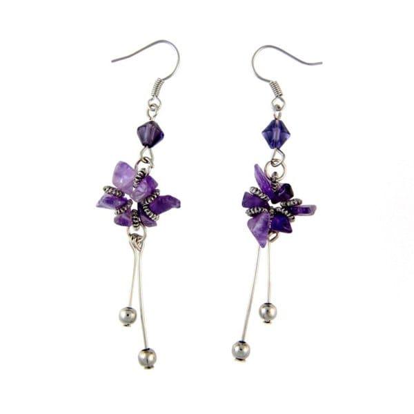 Tibetan Gemstone Flower Earrings (China)