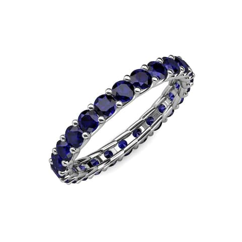 TriJewels Blue Sapphire Eternity Ring Stackable 2.21 ctw 14KW Gold