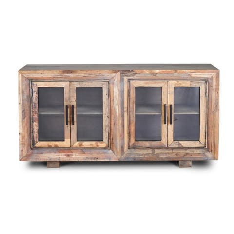 Harp & Finial Hughes 4 Door Natural Reclaimed Wood With Plain Glass Sideboard