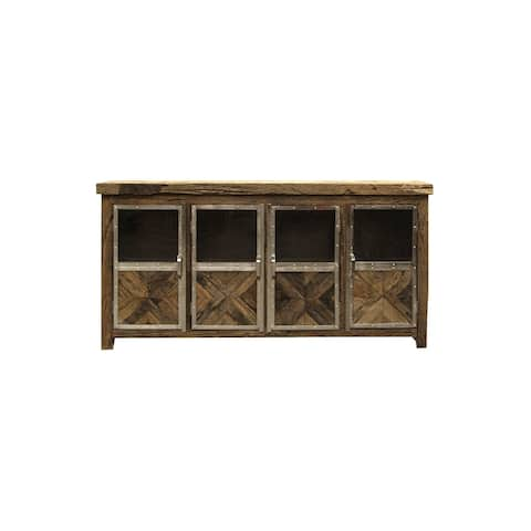 Harp & Finial Ayers 4-Door Reclaimed Railroad Tie Wood with Clear Glass Sideboard