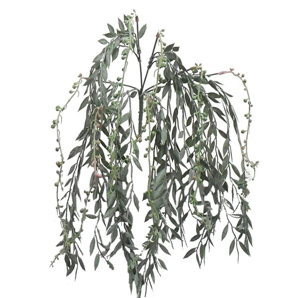 """19"""" Plastic hanging grass with flower buds"""