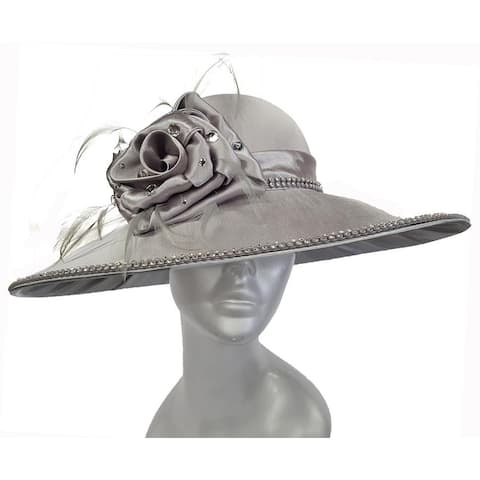 Women's dressy satin-covered couture hat Grey church Kentucky Derby