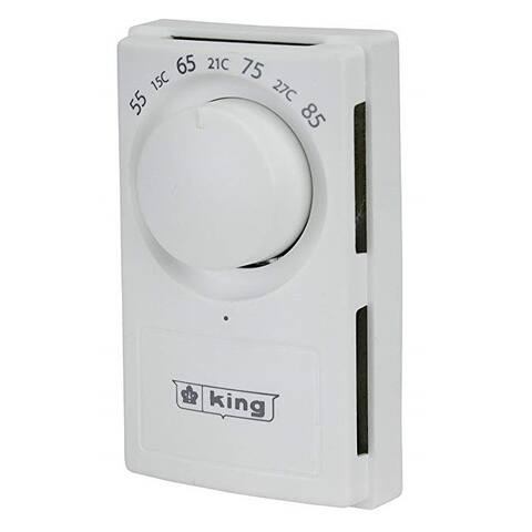 King Electric K600S 240/277V Double Pole Line Voltage Thermostat, White