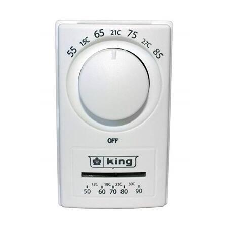 King Electric K601TR Single Pole European Style Thermostat, White