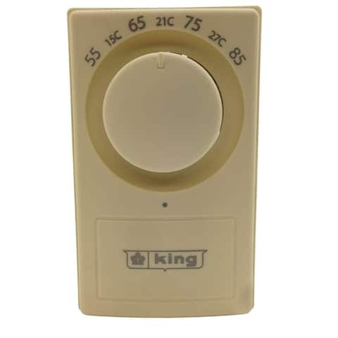 King Electric K601-25 European Style Single Pole Thermostat, 25A, Almond
