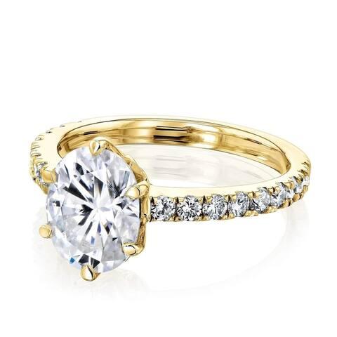 Annello by Kobelli 14k Gold 2 1/2ct TGW Oval Moissanite and Diamond Tulip Head Engagement Ring (HI/VS, GH/I)