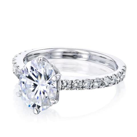 Annello by Kobelli 14k Gold 2 1/2ct TGW Oval Moissanite and Diamond Tulip Head Engagement Ring (GH/VS, GH/I)