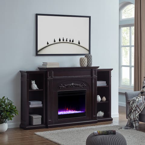Traditional Brown Wood LED Color Changing Fireplace with Bookcases