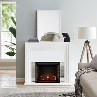 Stan Contemporary White Electric Fireplace