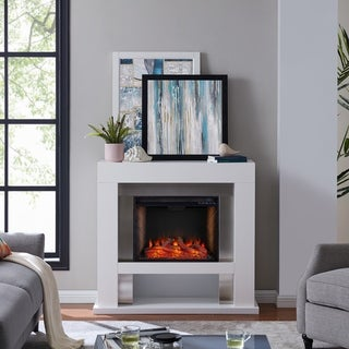 Larry Industrial White Alexa Enabled Smart Fireplace