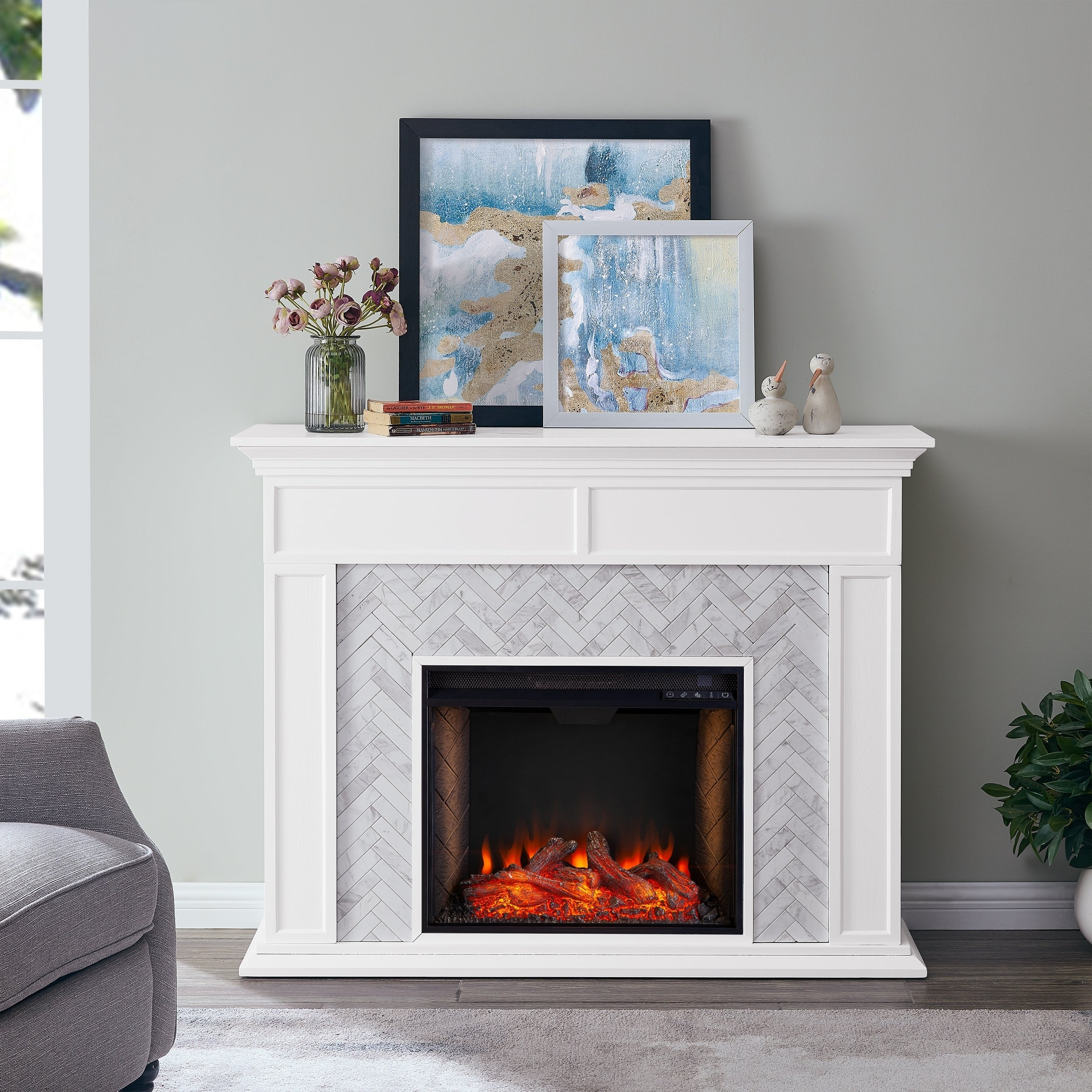 Harper Blvd Torton Contemporary White Alexa Enabled Wood Fireplace