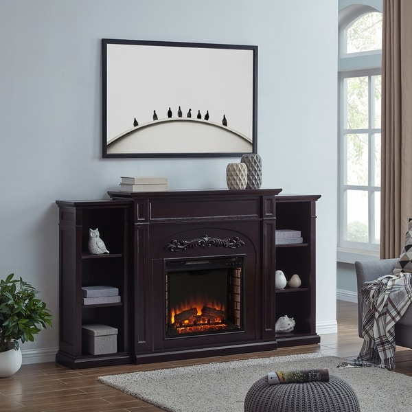 Chandler Traditional Brown Wood Electric Fireplace with Bookcases