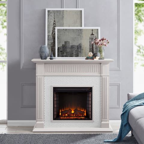 Chase Contemporary Grey Wood Electric Fireplace