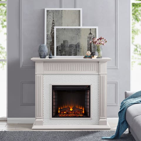 Harper Blvd Chase Contemporary Gray Wood Electric Fireplace
