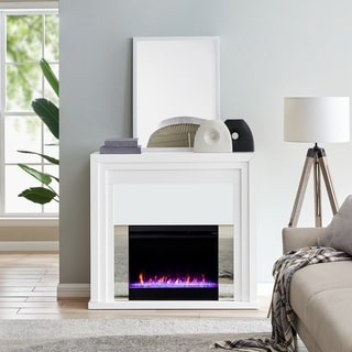 Modern & Contemporary White Wood Color Changing LED Fireplace