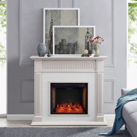 Chase Contemporary Grey Alexa Enabled Smart Fireplace