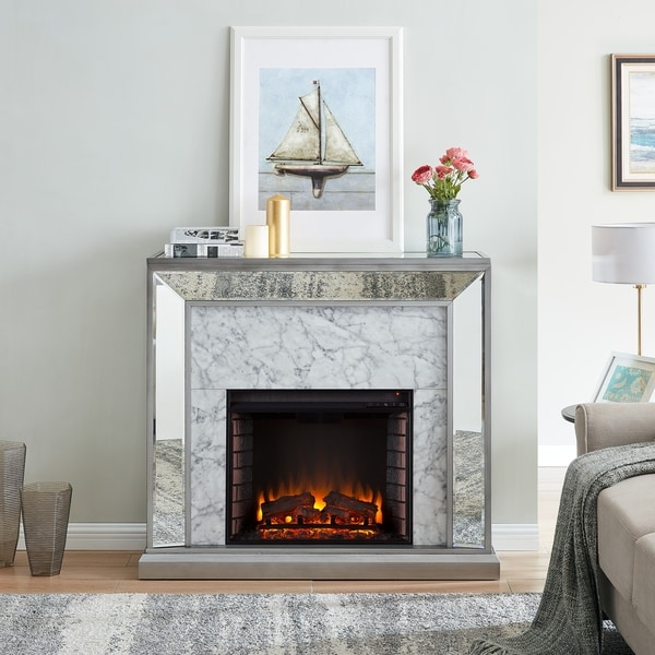 Silver Orchid Tranton Glam Mirror Electric Fireplace