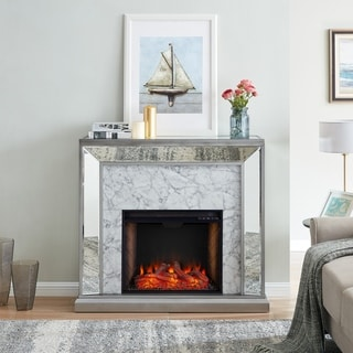 Silver Orchid Tranton Glam Mirror Alexa Enabled Fireplace - N/A