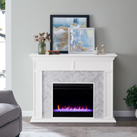 Torton Contemporary White Color Changing LED Fireplace