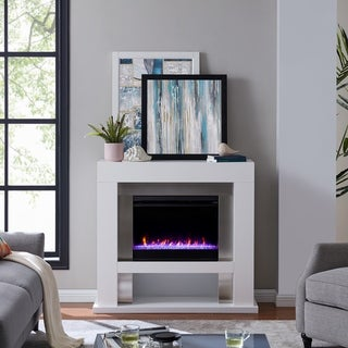 Larry Industrial White Color Changing LED Fireplace