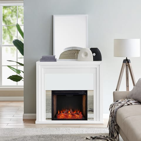 Stan Contemporary White Alexa Enabled Smart Fireplace - N/A