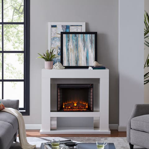 Harper Blvd Larry Industrial White Wood Electric Fireplace