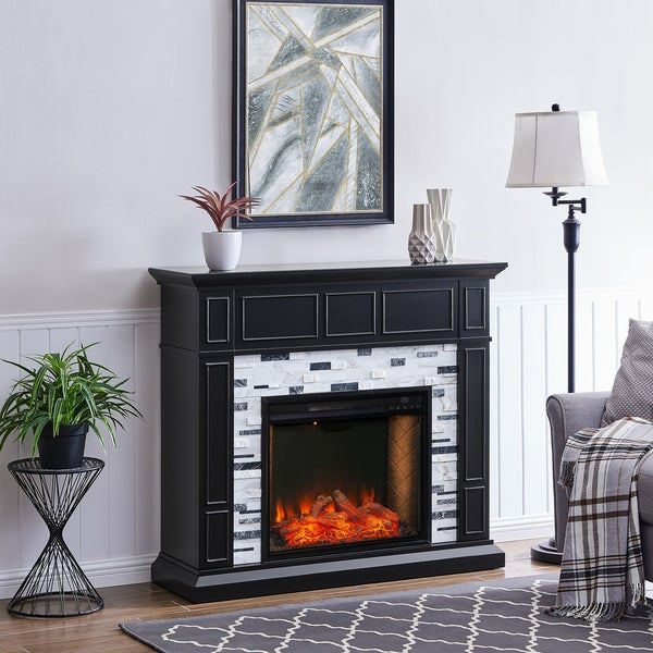 Dre Contemporary Black Alexa Enabled Smart Fireplace