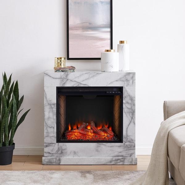 Harper Blvd Dejon Contemporary White Alexa Enabled Smart Fireplace