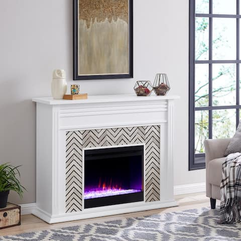 Heidi Contemporary White Wood Color Changing LED Fireplace
