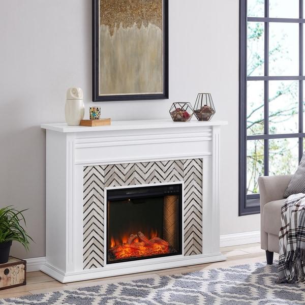 Heidi Contemporary White Alexa Enabled Smart Fireplace