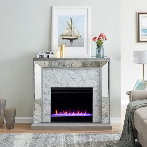 Silver Orchid Tranton Glam Mirror Fireplace with Color Changing Firebox