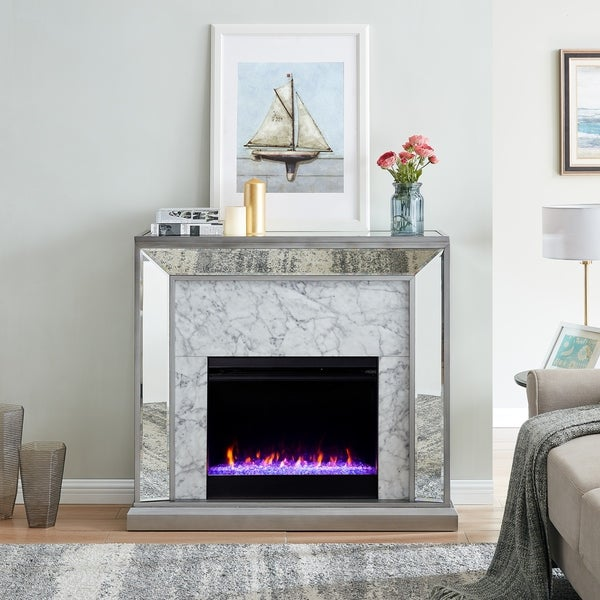 Silver Orchid Tranton Glam Mirror Fireplace with Color Changing Firebox - N/A