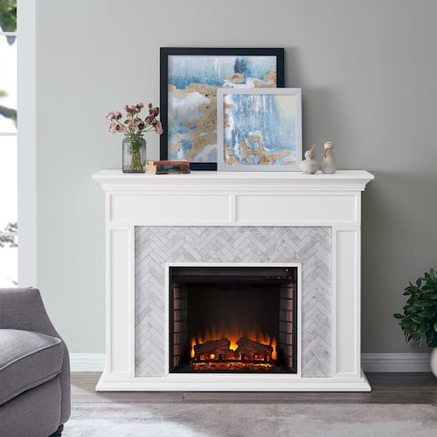 Torton Contemporary White Wood Electric Fireplace