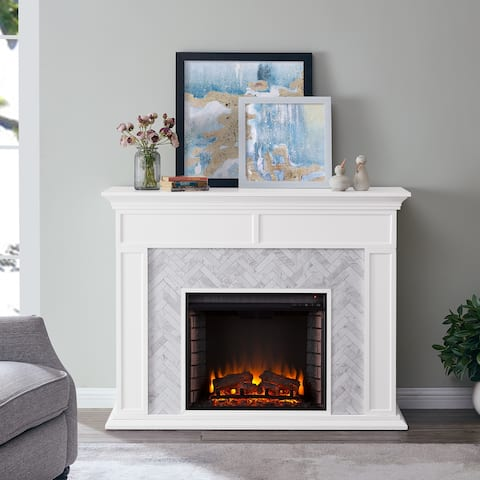 Harper Blvd Torton Contemporary White Wood Electric Fireplace