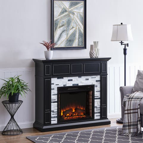 Dre Contemporary Black Wood Electric Fireplace
