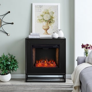 Frescan Contemporary Black Alexa Enabled Smart Fireplace