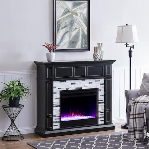 Dre Contemporary Black Wood LED Color Changing Fireplace